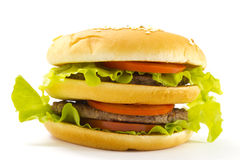 Big and tasty hamburger isolated Stock Photo