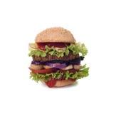 Big tasty hamburger isolated on white background. Clipping path. Royalty Free Stock Photo