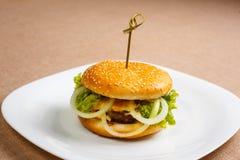 Big and tasty hamburger Stock Photos