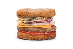 Big tasty hash brown burger isolated on white Royalty Free Stock Photography