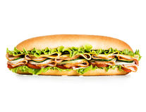 Big tasty sandwich close-up isolated on a white background Royalty Free Stock Images