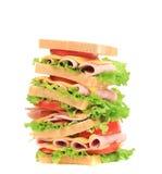 Big tasty sandwich with ham. Royalty Free Stock Photo