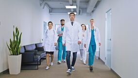 Big team of doctors and nurses multiethnic in the hospital corridor walking in front of the camera straight