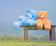 Big teddy bears  sitting on wood chair Royalty Free Stock Photo