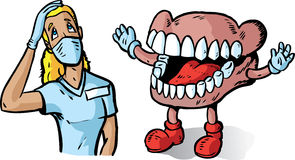 Big teeth and dentist Stock Images