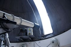 Big telescope under dome of astronomic observatory. S s s Stock Images