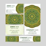 Big templates set. Business cards, invitations and banners. Mandala pattern and ornaments. Asian, Arabic, Indian, ottoman motifs. Royalty Free Stock Image