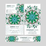 Big templates set. Business cards, invitations and banners. Mandala pattern and ornaments. Asian, Arabic, Indian, ottoman motifs. Stock Image