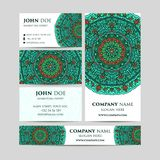 Big templates set. Business cards, invitations and banners. Mandala pattern and ornaments. Asian, Arabic, Indian, ottoman motifs. Royalty Free Stock Photography