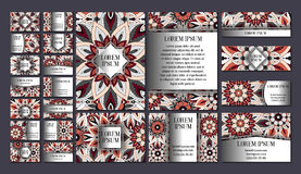 Big templates set. Business cards, invitations and banners. Floral mandala pattern ornaments. Oriental design Layout. Stock Images