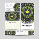 Big templates set. Business cards, invitations and banners. Mandala pattern and ornaments. Asian, Arabic, Indian, ottoman motifs. Royalty Free Stock Photos