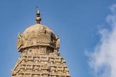 Cloes up of the Thanjavur Big Temple Tower royalty free stock images