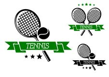 Big tennis sporting emblem. With rackets, ball and green ribbon isolated on white, for sports club, tournament or logo design Royalty Free Stock Image
