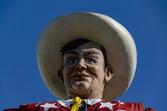 Big Tex at the State Fair Of Texas. A close up head shot picture of Big Tex at the State Fair of Texas in Dallas royalty free stock photography