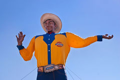 Big Tex at the Texas State Fair. The Texas State Fair icon Big Tex stands tall and greets people on October 12, 2010 in Dallas, Texas. The statue caught fire and stock photo