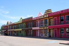 The Big Texan Motel. Is a popular tourist attraction and accomodation in Amarillo, Texas. The 54-unit Big Texan Motel resembles a main street in an old west Stock Images