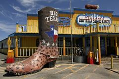 The Big Texan Steak Ranch. Is a popular restaurant and tourist attraction in Amarillo, Texas. It first opened on historic Route 66 and is best known for its 72 Royalty Free Stock Photo