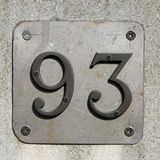Big text number 93. With metal letters stock photography