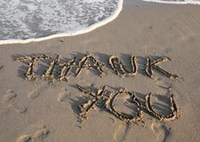 Big Text THANK YOU on the beach