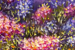 Big texture abstract flowers. Close up fragment of oil painting artistic flowers image. Palette knife flowers macro. Macro artist`. Original handmade abstract Stock Photo