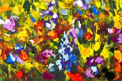 Big texture flowers. Close up fragment of oil painting artistic flowers image. Palette knife flowers macro. Macro artist`s impasto. Original handmade abstract Royalty Free Stock Photos