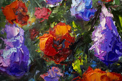 Big texture flowers Close up fragment of oil painting artistic. Palette knife . macro. Macro artist`s impasto, texture mixed oil paints Stock Photos