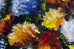 Big texture flowers Close up fragment of oil painting artistic. Palette knife . macro. Macro artist`s impasto , texture mixed oil paints Royalty Free Stock Images