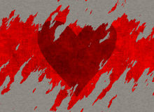 Big textured red tear heart drawing on paper Royalty Free Stock Images