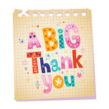 A big thank you notepad paper message with unique hand lettering stock illustration