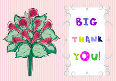Big thank you the text  and  bouquet of flowers Stock Image