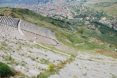 Big theatre in ancient pergamon acropolis. Pergamon or Pergamum was an ancient Greek city in modern-day Turkey, in Mysia, north-western Anatolia, 16 miles from Stock Images