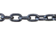 Big thick steel dark metal chain links foreground closeup outsid Royalty Free Stock Image