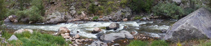 Big Thompson River Panorama. A panoramic image of Big Thompson River in Colorado royalty free stock image