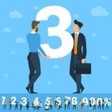 Big Three-Zahl Weiß nummeriert Illustration mit jungen Leuten Lizenzfreie Stockbilder