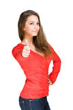 Big thumbs up. Gorgeous young brunette showing big thumbs up on white background stock image