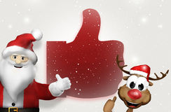 Big thumbs up santa claus and reindeer 3d Royalty Free Stock Photography