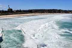 Big tide at Bondi beach after a big storm Royalty Free Stock Photos