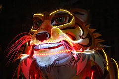 Big tiger head during the Fete des lumieres Stock Photo