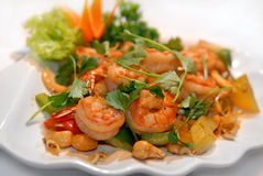 The big tiger shrimps with vegetables Stock Photo