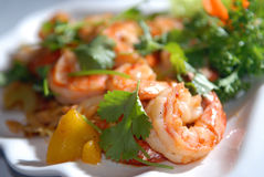 The big tiger shrimps with vegetables and nuts Stock Photography