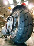 Big tire casing of chopper bike. Stock Photos