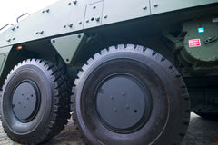 Big tires on military vehicle. A close up on two big tires on a military vehicle royalty free stock image