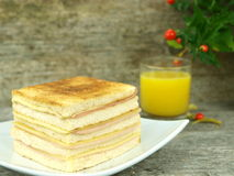 Big toast with ham and cheese Stock Photography