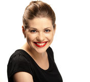 Big toothy smile. Portrait of  beautiful young woman with red lips isolated over white. Big toothy smile Royalty Free Stock Photo