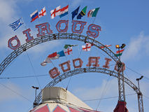 Big Top. Circus signs and national flags adorning a big top Stock Image