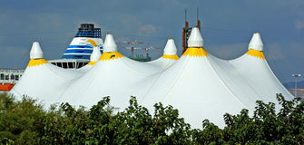 The big top. A big top in Marseille, France, alongside the port Stock Photography