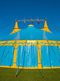 Big top circus tent. Blue and yellow big top circus tent portrait Stock Images
