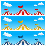 Big Top Circus Tent Banners. Collection of three banners with big top or circus tent in three different colors. Eps file available Stock Photography
