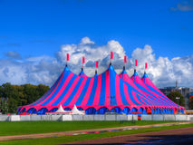 Big Top Circus Tent in Bright Colors. Huge Big Top Circus Tent, Buit up for a Music Festival on a Sunny Day in the Park Stock Photography