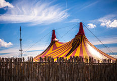 Big top circus tent on a field in a park.  Royalty Free Stock Photos